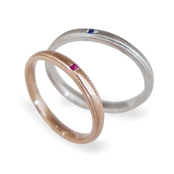 【送料無料&刻印無料】Lovers&Ring ラバーズリングピンクゴールド&ホワイトゴールド10金ペアリング LSR0657RPK-SWG ペアリング ペア 指輪 ミル打ち プレゼント ギフト リング ジュエリー ギフト かわいい 刻印可能 普段使い