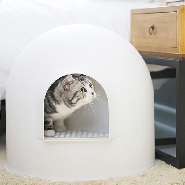 【100円クーポン対象】イグルー のような 猫用 トイレ pidan Igloo Cat Litter Box ピダン 氷雪ハウス Snow White スノーホワイト 抗菌 消臭 カバー おしゃれ インテリア 猫用品