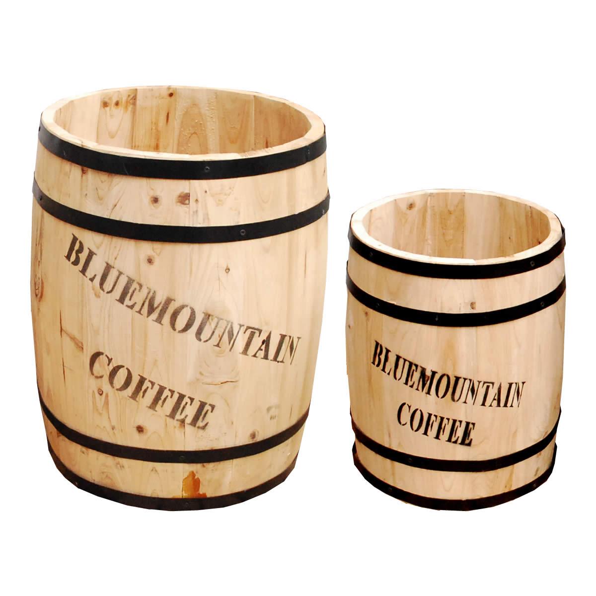 コーヒーバレル 大小2個組【天然木 木製 収納 コーヒー樽 コーヒーバレル プランター カバー ガーデニング 水抜き穴 ごみ箱 傘立て おしゃれ 北欧 ナチュラル アメリカン 庭 ベランダ 屋外 ブルーマウンテン ウッドプランター】