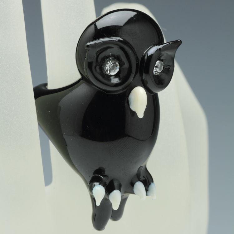 ベネチアンガラスの指輪 ふくろうの指輪 オウルリング ブラック 目にスワロフスキー ベネチアングラス