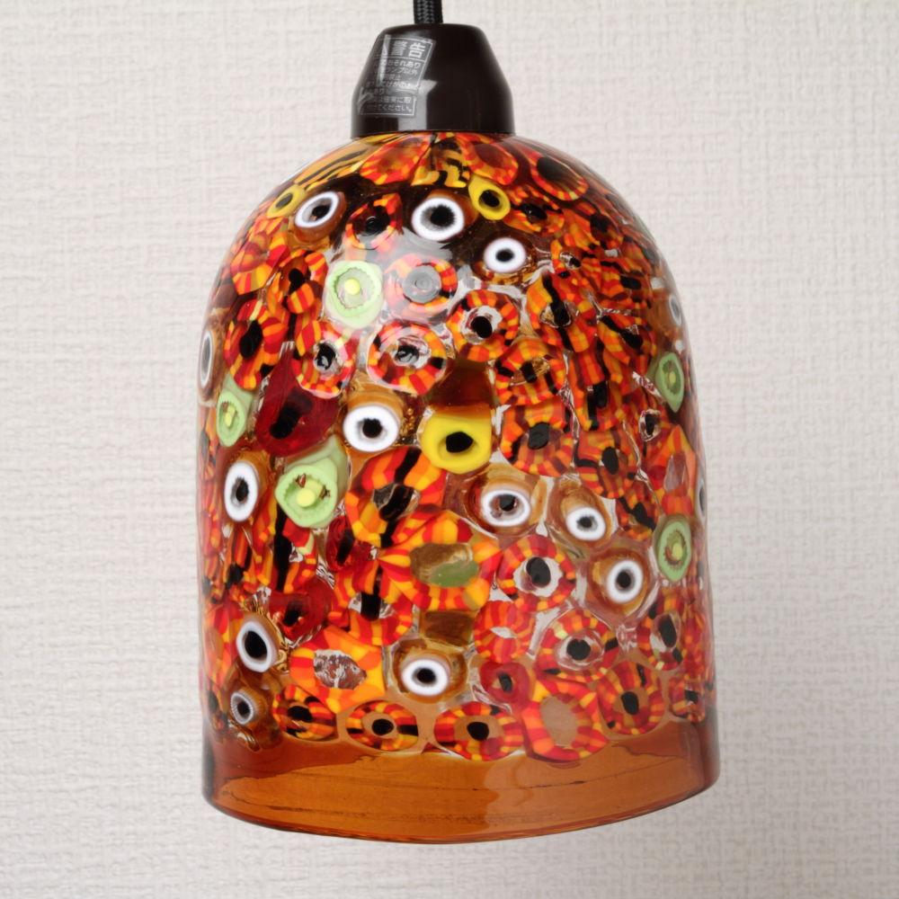 Venetian Gl Pendant Lights Orange Millifiori Lamp Dm 28 M Size Led Lighting