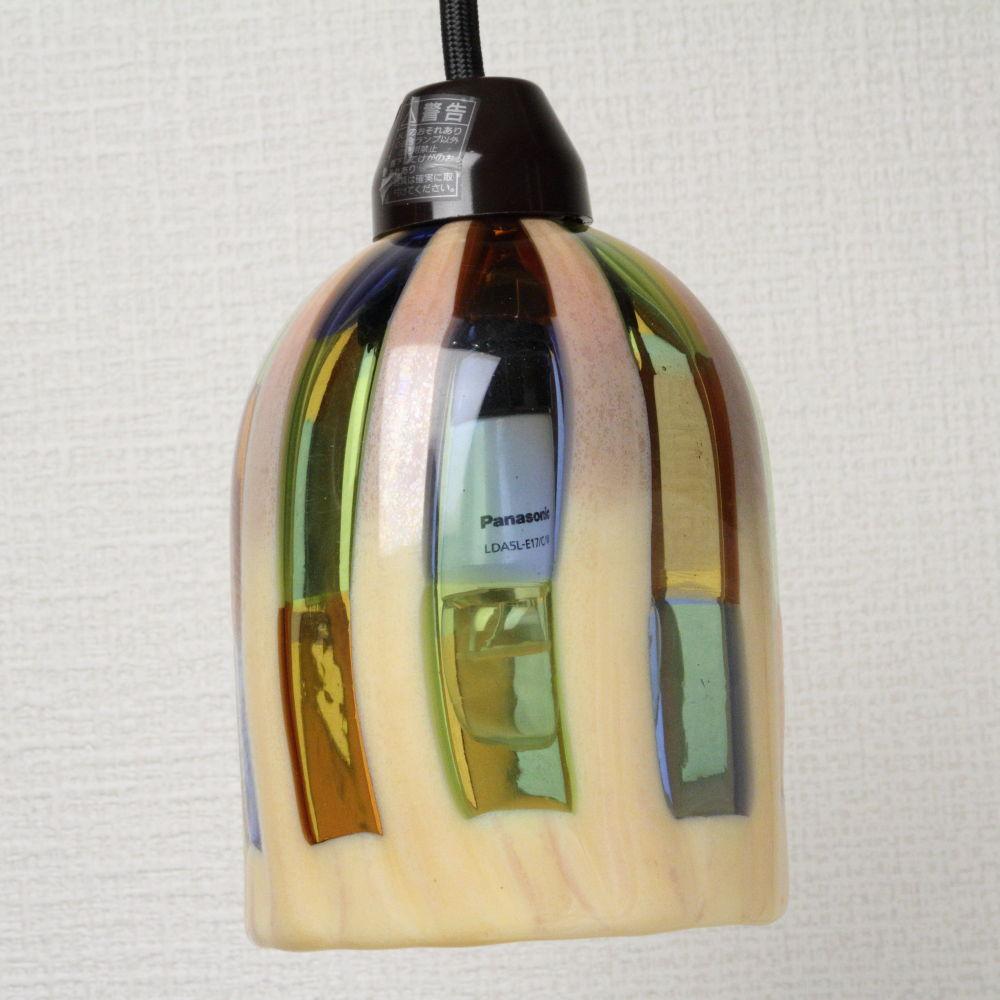 ベネチアングラス ペンダントライト ベージュとマルチカラーの窓 DM-43 Sサイズ ランプ LED照明
