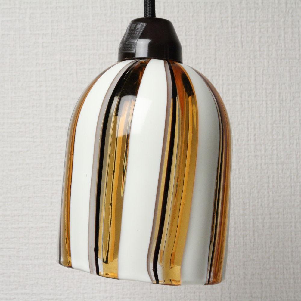 ベネチアングラス ペンダントライト 白のラインとアンバー DM-41 Sサイズ ランプ