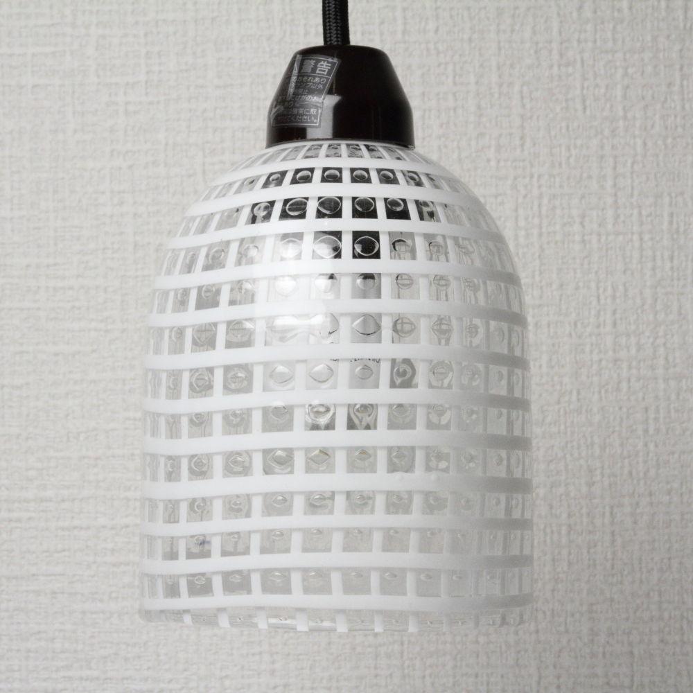 ベネチアングラス ペンダントライト ランプ DM-34 Sサイズ 白い格子柄 LED照明