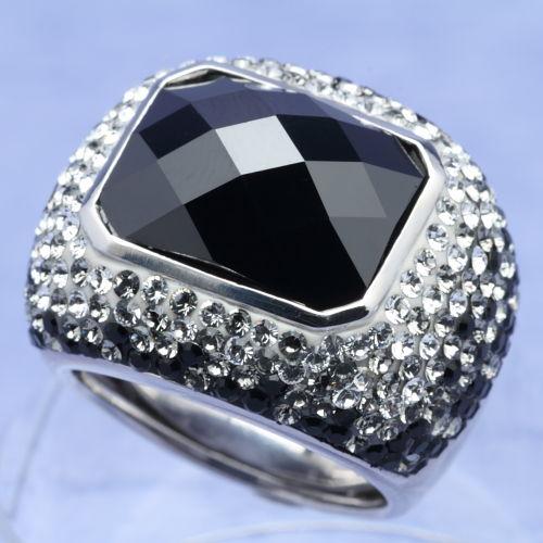 スワロフスキー リング ネバー シルバー925 ブラック サイズ18.5号指輪 オリバーウェバー(OLIVER WEBER) プレゼント メンズ レディース あなたのハートを鷲掴み 誕生日 おしゃれ ギフト