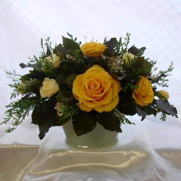 白磁の花器 バラのオーバルアレンジwhiteyellow プリザーブドフラワー[PW]