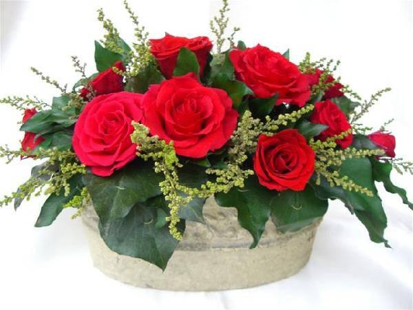 豪華な赤いバラ10輪の寄せ植え風アレンジ プリザーブドフラワー[PW]