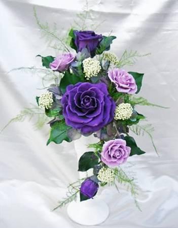 凛-rin- 紫のバラのアレンジ プリザーブドフラワー[PW]