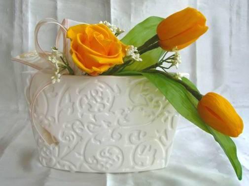 プリザーブドフラワーとは 美しく枯れない生花 花職人さんの手組 PW 捧呈 爆売りセール開催中 ゴールデンイエローのチューリップとバラのアレンジプリザーブドフラワー