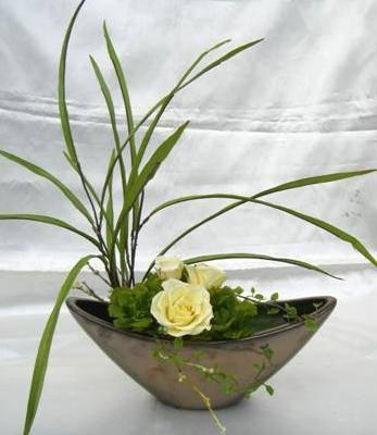 和風アレンジ 風花 黄色いバラとかんすげのアレンジ プリザーブドフラワー[PW]