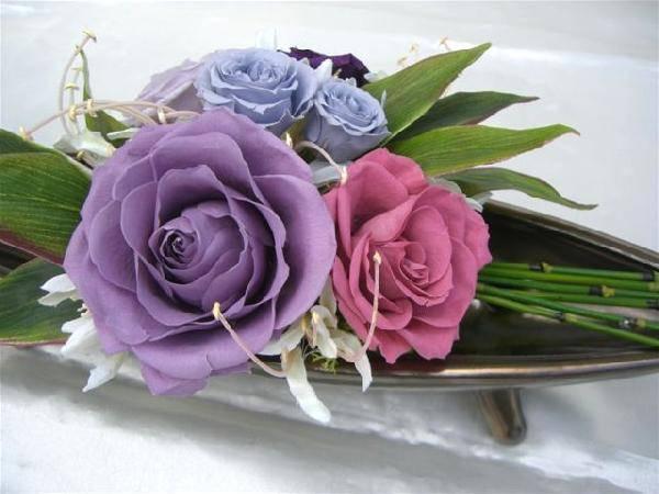 和風テーブルアレンジ-風雅- 紫のバラのアレンジ プリザーブドフラワー[PW]