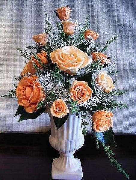 オレンジ&オレンジのバラのアレンジプリザーブドフラワー[PW]