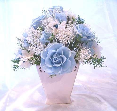 NEW小花いっぱいの青いバラのアレンジラウンドタイプ プリザーブドフラワー[PW]