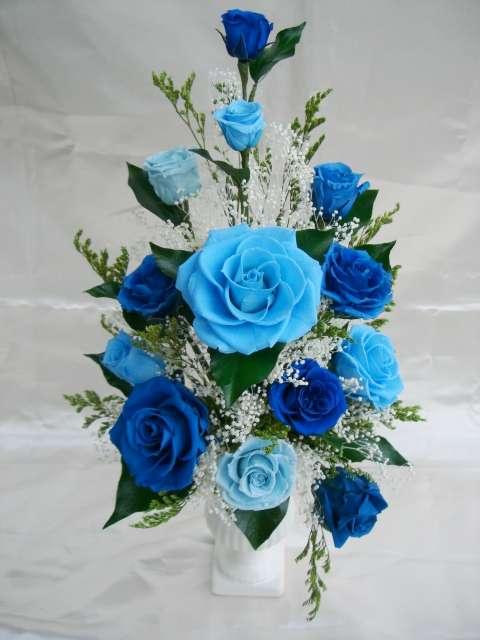 ブルー&ブルー 青い薔薇(バラ)のアレンジプリザーブドフラワー[PW]