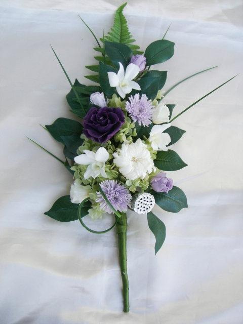 お仏壇のお供え 仏花 祈り バラとデンファレと菊のアレンジ プリザーブドフラワー[PW]
