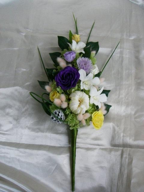 お仏壇のお供え 仏花 祈り 霞 白菊とバラとデンファレのアレンジ プリザーブドフラワー[PW]