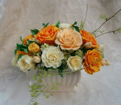 素材全てがプリザーブド素材の豪華アレンジ!幸運の風 ビタミンカラーのバラの豪華アレンジ プリザーブドフラワー 花[PW]