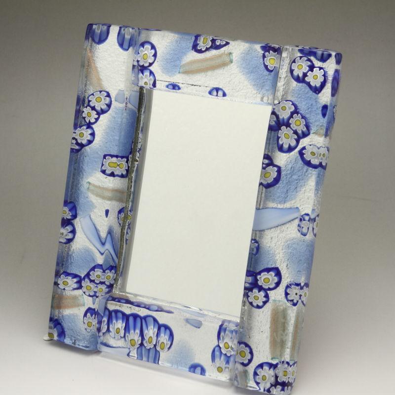 激安通販の ベネチアンガラス 写真立て 写真立て フォトフレーム ミラースタンド、鏡としても使えます 少し小さめサイズ スカイブルー, 三厩村:c9b20634 --- kanvasma.com