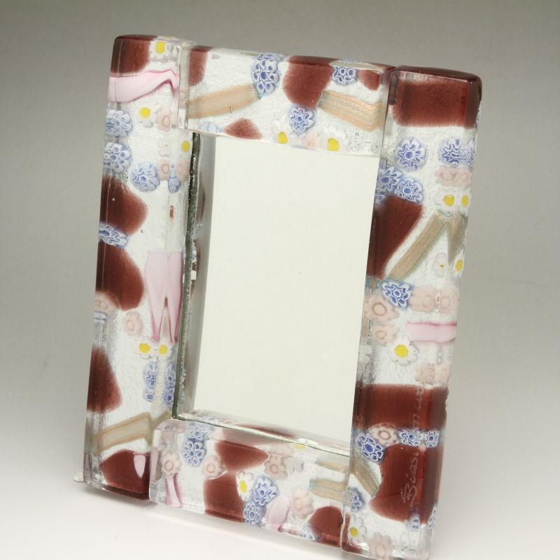 ベネチアンガラス 写真立て フォトフレーム ミラースタンド、鏡としても使えます 少し小さめサイズ ブラウンとピンクのかわいさ