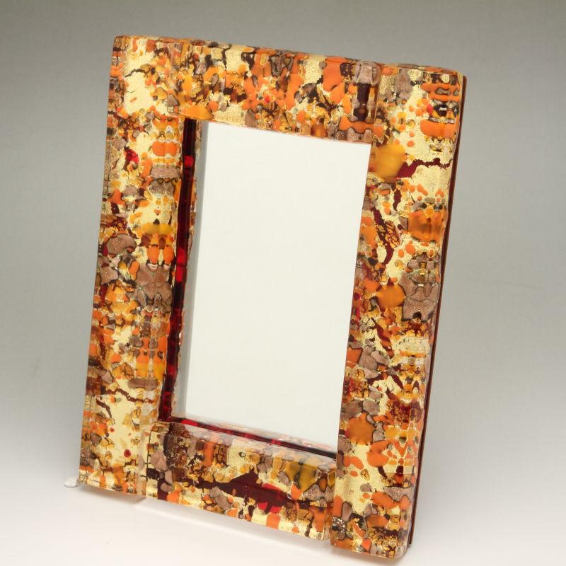 ベネチアンガラス 写真立て フォトフレーム ミラースタンド、鏡としても使えます 少し小さめサイズ オレンジとゴールドのコントラスト