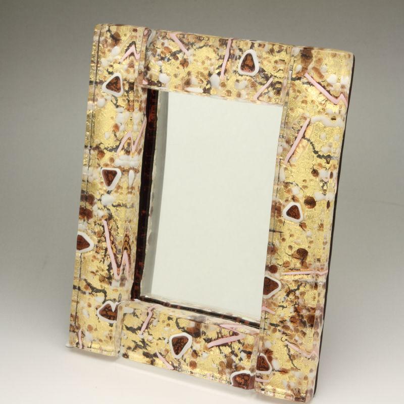 ベネチアンガラス 写真立て フォトフレーム ミラースタンド、鏡としても使えます 少し小さめサイズ ゴールドとピンク