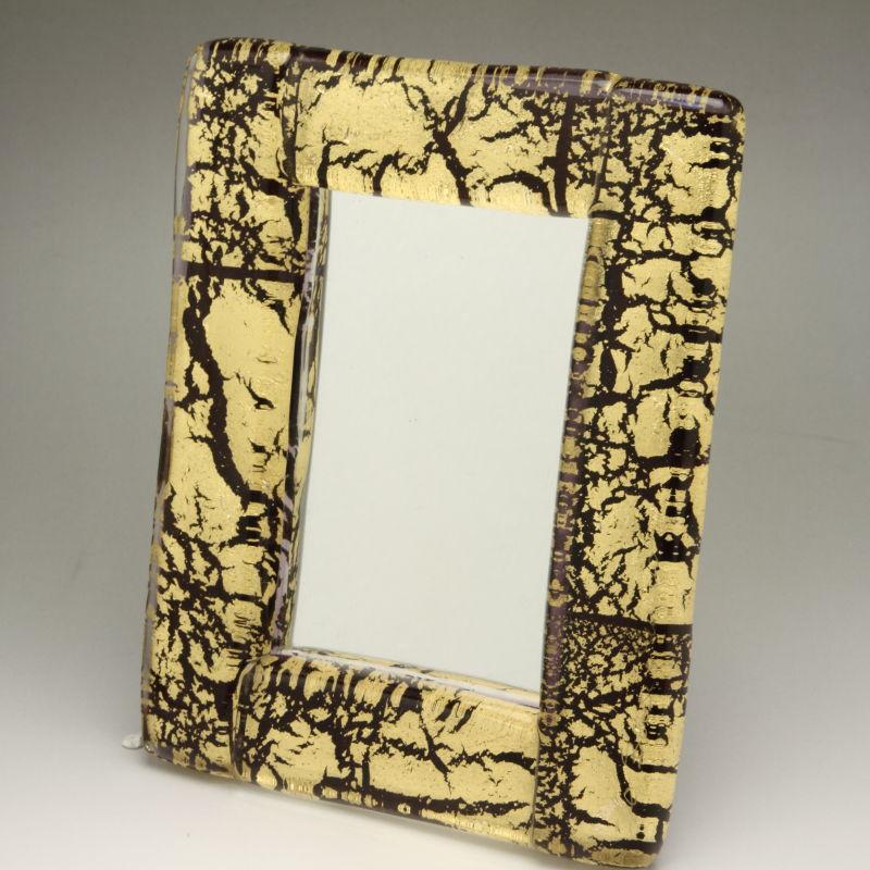 ベネチアンガラス 写真立て フォトフレーム ミラースタンド、鏡としても使えます 少し小さめサイズ ゴールドとブラック