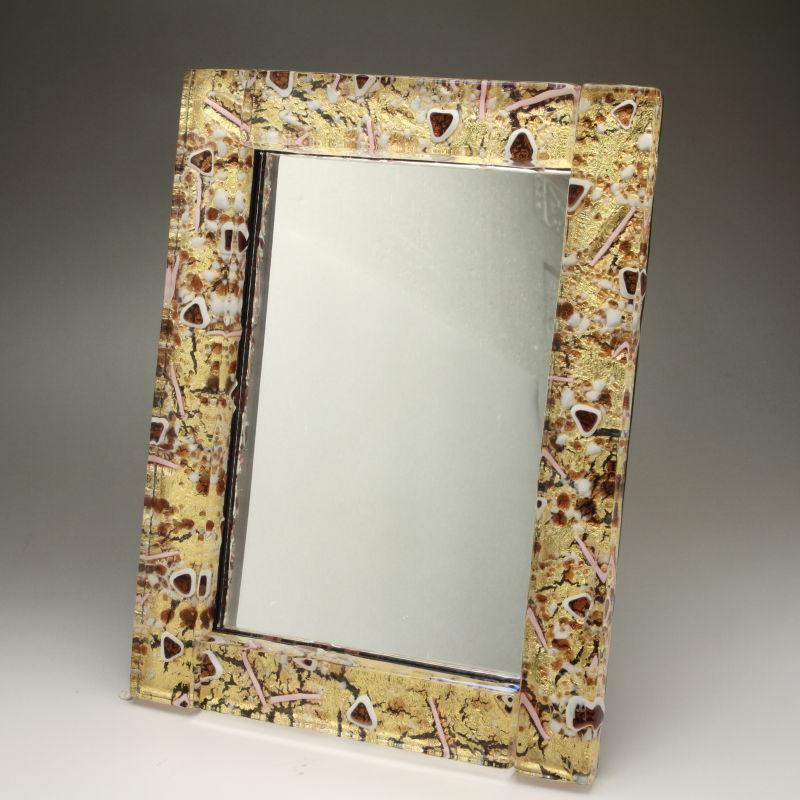 ベネチアンガラス 写真立て フォトフレーム ミラースタンド、鏡としても使えます 少し大きめサイズ オレンジとゴールドのコントラスト