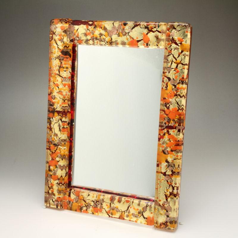ベネチアンガラス 写真立て フォトフレーム ミラースタンド、鏡としても使えます 少し大きめサイズ ゴールド 森の中