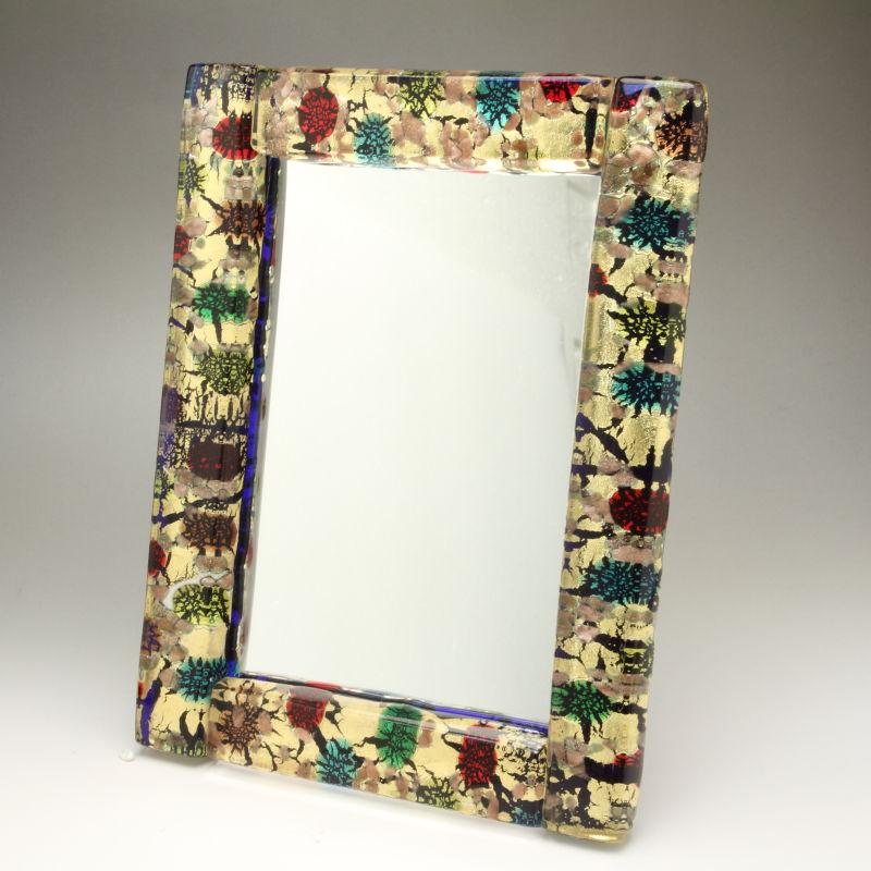 ベネチアンガラス 写真立て フォトフレーム ミラースタンド、鏡としても使えます 少し大きめサイズ ゴールド 森の中 金箔の模様が多めタイプ