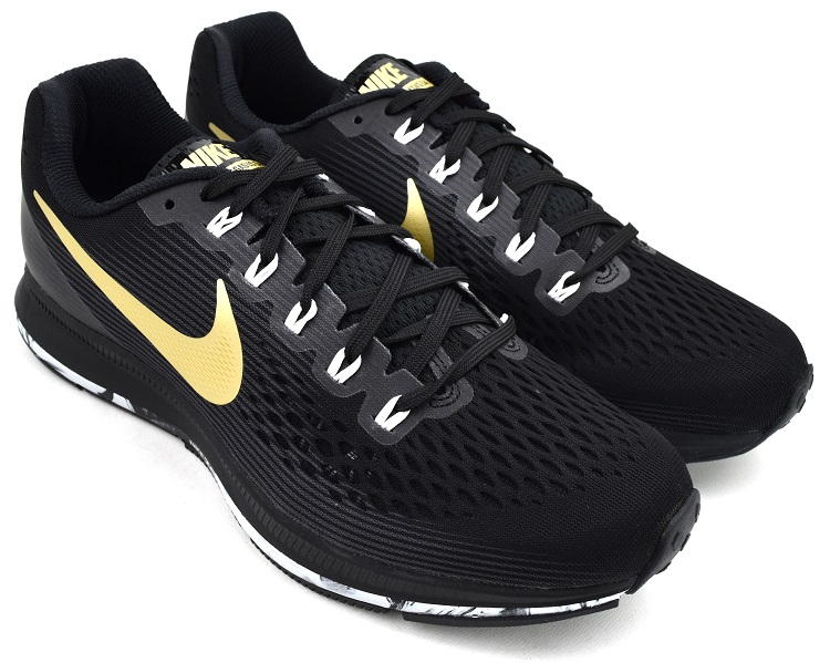 NIKE AIR ZOOM PEGASUS 34 BLACK/MTLC GOLD STAR ナイキ エア ズーム ペガサス 34