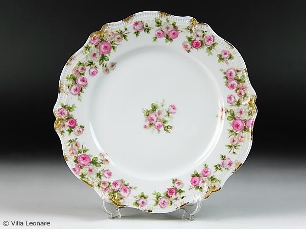 【リモージュ】GDA ホワイト&ピンクの薔薇 プレート(サラダ)