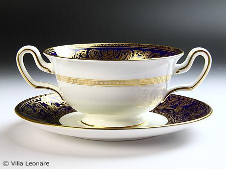 【ウエッジウッド】フロレンティーン コバルト&ゴールド スープカップ&ソーサー