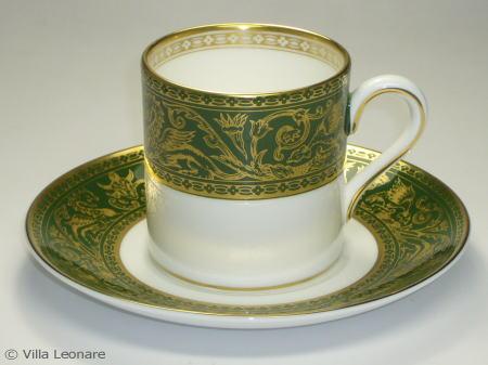 【ウエッジウッド】フロレンティーン グリーン&ゴールド カップ&ソーサー(デミタスボンド・クープソーサー)