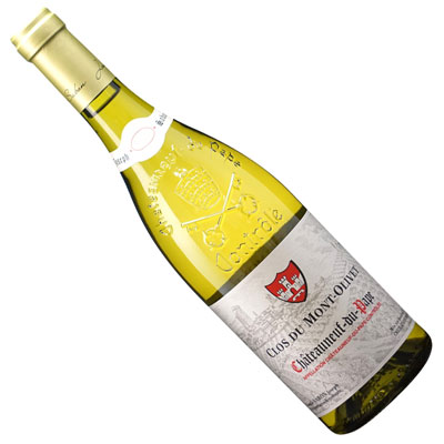 洋ナシをイメージするよく熟した果実味がフローラルな風味を伴って心地良く広がり、ふくよかで旨味の要素が素直に広がる印象の単純に美味しいと言いたいローヌの白ワイン 【フランスワイン】【白ワイン】シャトーヌフ デュ パプ ブラン 2018クロ・デュ・モン・オリヴェ[辛口]