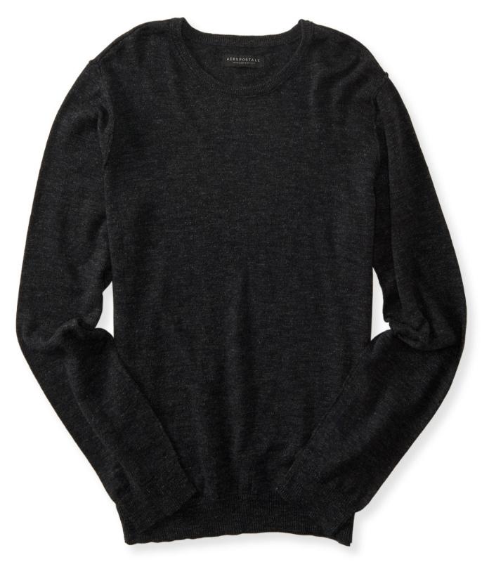 USサイズ S M L XL セール特別価格 XXL XXXL 大きいサイズ エアロポステール AEROPOSTALE Neck セーター Crew Black ブラック Sweater メンズ Men's 至高 Solid