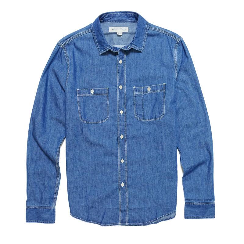 USサイズ 特売 S M L XL XXL XXXL 大きいサイズ エアロポステール AEROPOSTALE メンズ Woven Shirt Dark Sleeve 期間限定 長袖 Mens Workwear Long ダークウォッシュ シャツ Wash