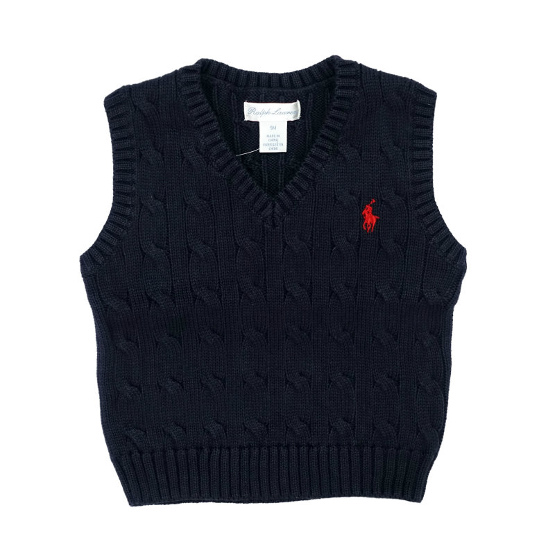 Genuine Ralph Lauren boys polo cable navy cotton jumper sweater 6,18 mth