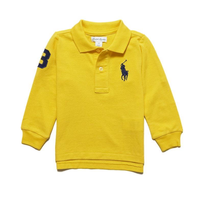 トップス 長袖 ワンポイント シンプル ビッグポニー ラルフローレン RALPH LAUREN ベビー 男の子 Chrome Cotton Big ポロシャツ Polo 価格交渉OK送料無料 イエロー Pony 期間限定 Mesh Yellow Long-Sleeve