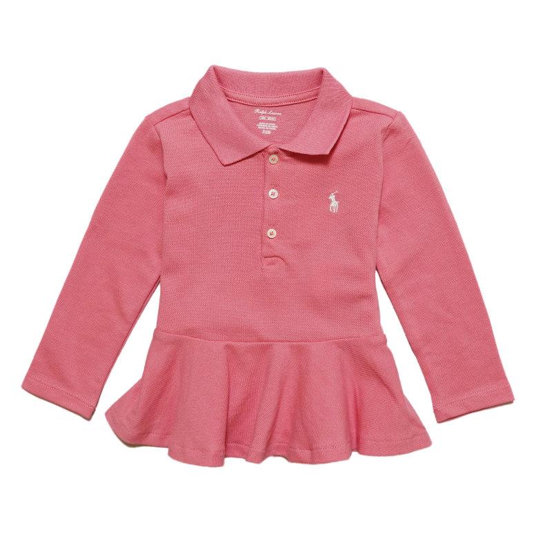 USラルフローレン 70cm 75cm 80cm 85cm 90cm ラルフローレン RALPH LAUREN バーゲンセール ベビー 女の子 Peplum 流行のアイテム Piqu? Polo ドルチェ Pink ピンク Dolce Shirt 長袖 ポロシャツ