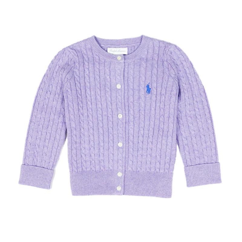 USラルフローレン ベビー ガールズ 新作通販 ワンポイント ニット ラルフローレン RALPH LAUREN Baby パープル Purple Cable-Knit いよいよ人気ブランド Cotton セーター Cardigan 女の子 カーディガン