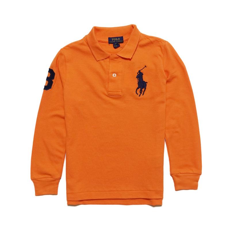 ボーイズ 95-130cm ビッグポニー シンプル 鹿の子 メッシュ ポロ ラルフローレン POLO RALPH LAUREN Mesh Orange オレンジ Shirt AL完売しました。 Boys Polo 長袖 Kona 蔵 ポロシャツ Cotton