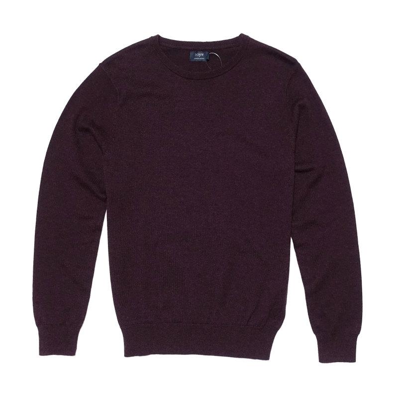 ジェイクルー J.Crew メンズ Mens セーター Harbor cotton crewneck sweater バーガンディ Heather Burgndy