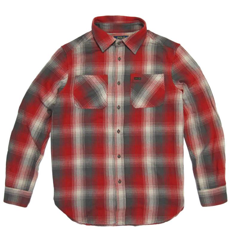 ポロ ラルフローレン POLO RALPH LAUREN ボーイズ Boys 長袖 シャツ Plaid Cotton Twill Workshirt レッドマルチ Red Multi