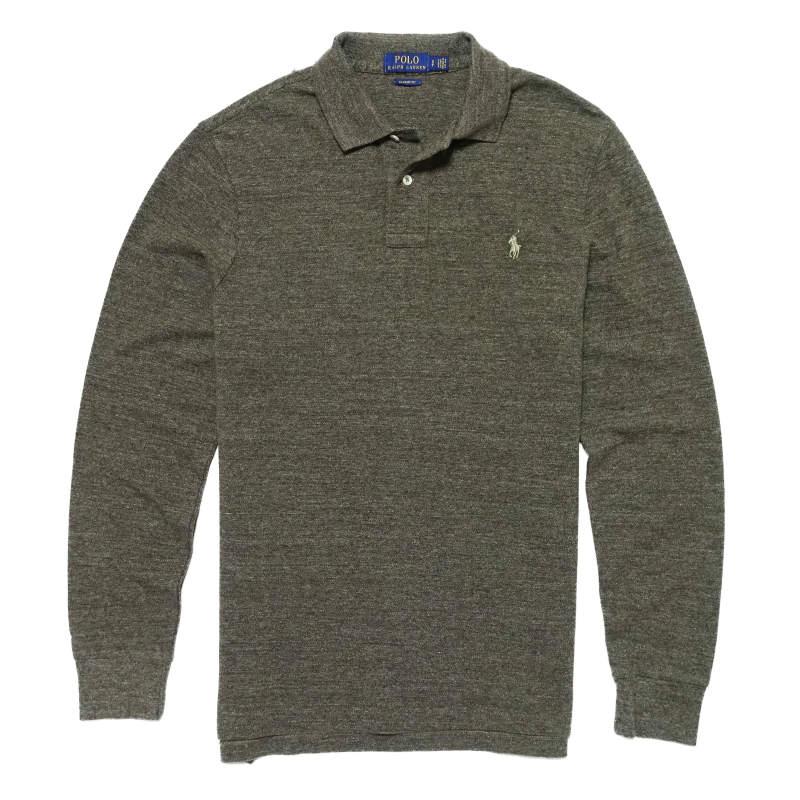 ポロ ラルフローレン POLO RALPH LAUREN メンズ Men's 長袖 ポロシャツ Classic Fit Mesh Polo グレー ヘザー Grey Heather