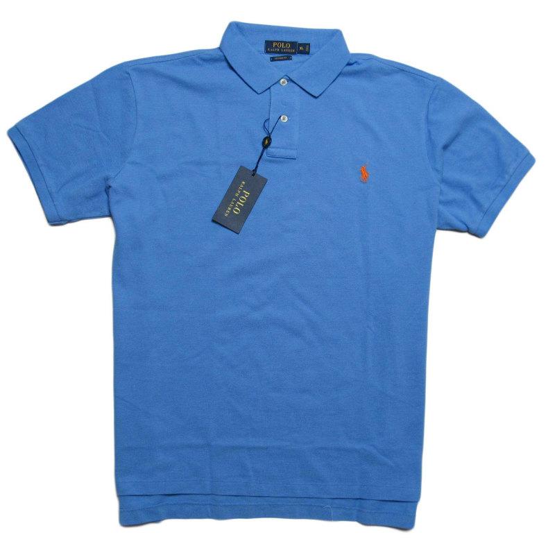 ポロ ラルフローレン POLO RALPH LAUREN メンズ Men's 半袖 ポロシャツ Custom-Fit Mesh Polo Shirt ブルー Blue