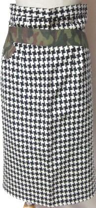 ☆【送料無料】【レア】コムデギャルソン(COMMEdesGARCONS)千鳥格子×迷彩ベルト風ライン生地ドッキングロングスカート 2000年モデル【中古】☆バーゲン