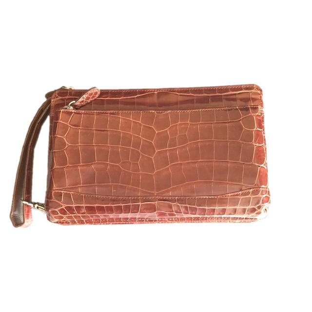 ☆【送料無料】 最高級 クロコダイルレザー使用 2層式 メンズセカンドバッグ【中古】【2015aw】☆