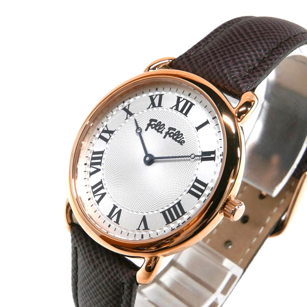 フォリフォリ 女性用 腕時計 クォーツ 定番キャンバス 革ベルト Folli Follie レディース ホワイト×ブラウン パーフェクト BR ブランド WF16R013SPS 33mm メーカー直売 マッチ