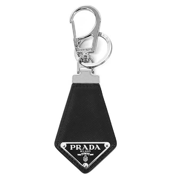 プラダ 男性用 キーホルダー 2020新作 PRADA キーリング メンズ レザー 2PP041 ブラック×シルバー ブランド 三角ロゴ 最新 053 F0002