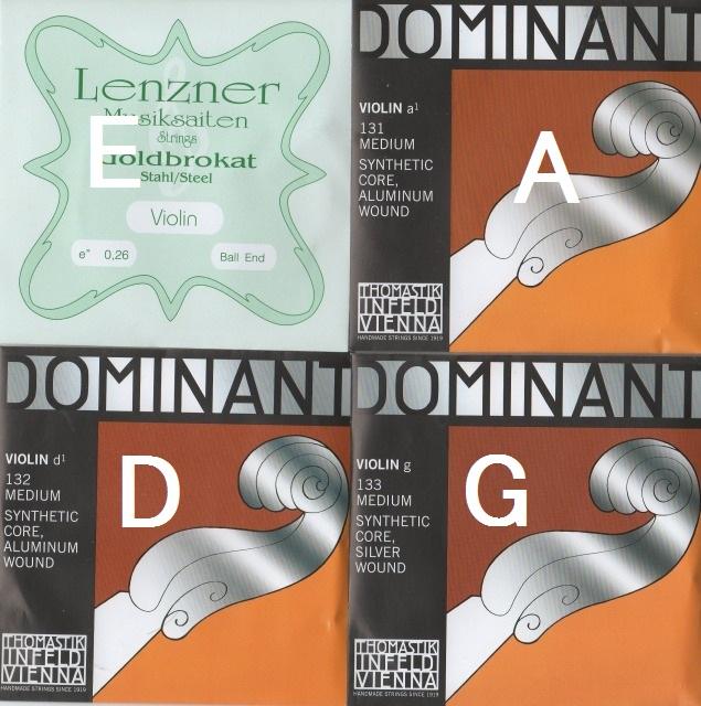 4弦セット バイオリン4弦セット ドミナント A 4年保証 時間指定不可 D 0.26ボールE ゴールドブラカット G +